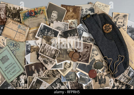 Genealogy - Family History - Old family photographs dating from around 1890 up to about 1950. - Stock Image