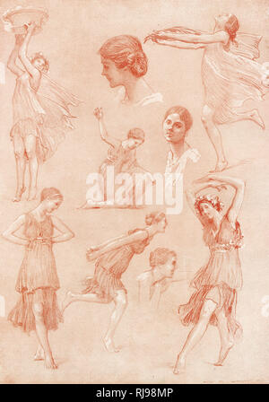 ISADORA DUNCAN American dancer: some action sketches - Stock Image