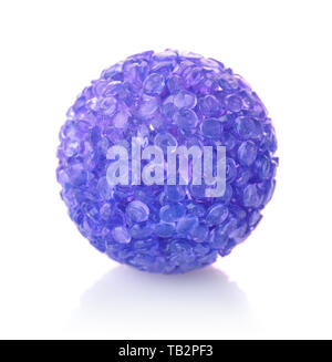 Blue plastic bell pet ball isolated on white - Stock Image