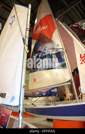 sailing dingies with bright sails - Stock Image