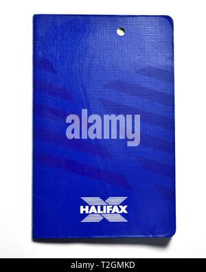 Old Blue Halifax savings bank book - Stock Image