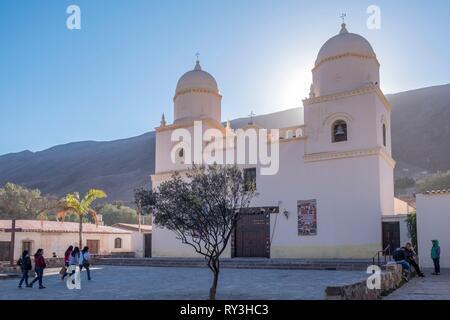 Argentina, Jujuy province, Quebrada de Humahuaca listed as World Heritage of UNESCO, Tilcara village, church, Iglesia de la Virgen del Rosario y San Francisco de Asis - Stock Image