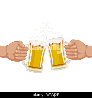 draught drink beer hand holding cheers pub illustration - Stock Image
