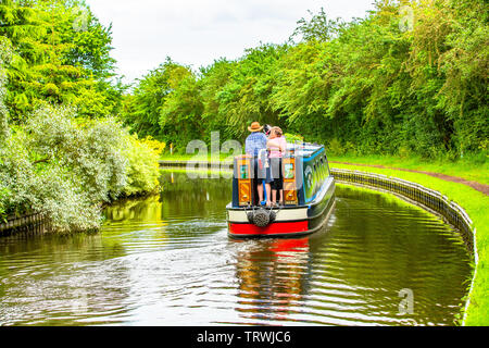 A great way to relax and calm down on a canal narrowboat holiday cruise. - Stock Image