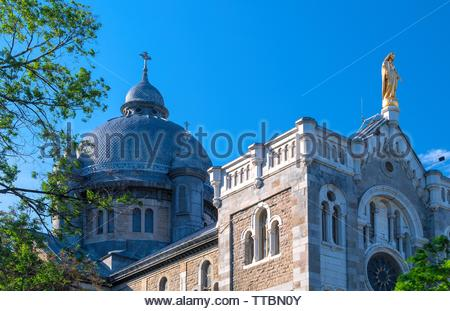 Montreal, Quebec, Canada-May 29, 2019: The Church of the Immaculate Conception  (Virgin Mary) in the Saint Catherine Street. The famous place is a tou - Stock Image