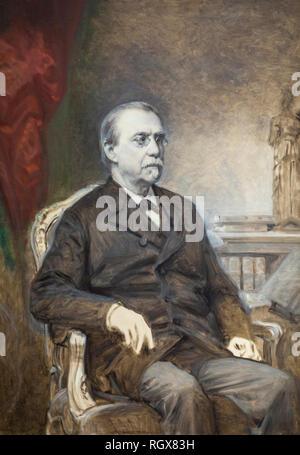 Malaga, Spain - Sept 21th, 2018: Antonio Canovas del Castillo, 19th century spanish politician painted by Federico Madrazo in 1889 at  Malaga Museum,  - Stock Image