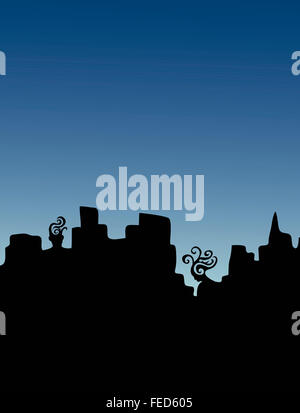 A man and a woman as part of a silhouetted city skyline. Thinking of each other. - Stock Image