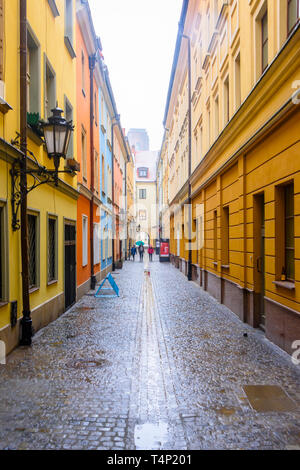 Colourful buildings within the town city square, Rynek, Wrocław, Wroclaw, Wroklaw, Poland - Stock Image
