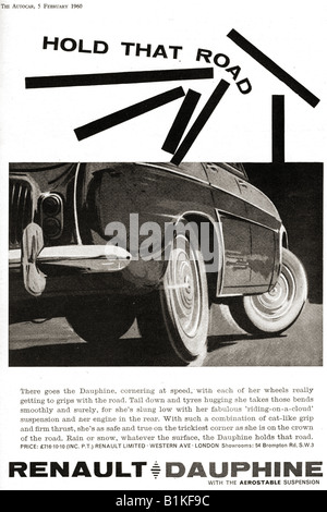 1960 advertisement for Renault Dauphine French Motor Car FOR EDITORIAL USE ONLY - Stock Image