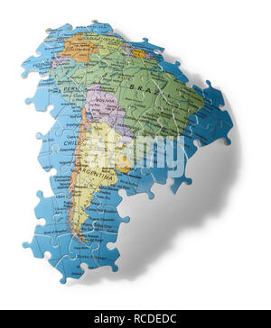 A section of jigsaw puzzle of the continent of South America - Stock Image