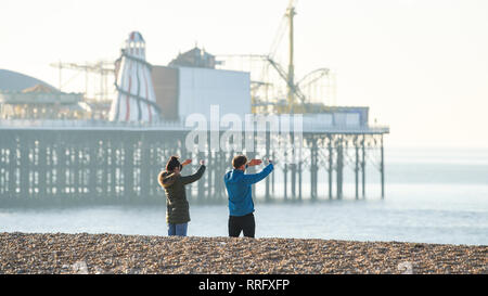 Brighton, UK. 26th Jan, 2019. Peaceful early morning on Brighton beach as the unusually warm sunny weather continues throughout Britain with some areas forecast to reach over 20 degrees centigrade again Credit: Simon Dack/Alamy Live News - Stock Image