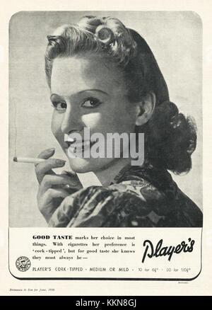 1939 UK Magazine Player's Cigarette Advert - Stock Image