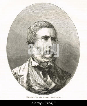 Major General Sir Henry Havelock. British general, particularly associated with India, recaptured Cawnpore during the Indian Rebellion of 1857 - Stock Image