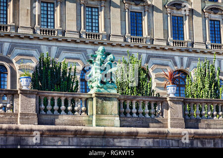 18 September 2018: Stockholm, Sweden - Detail of the Royal Palace on the island of Stadsholmen, in Gamla stan, the old town of Stockholm. - Stock Image