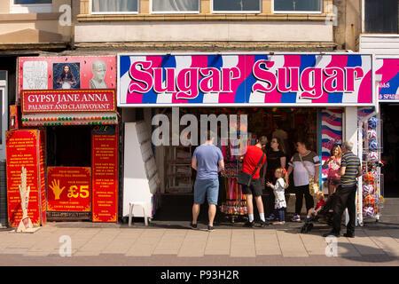 UK, England, Lancashire, Blackpool, Promenade, Palmist and Clairvoyant Gypsy Jane Anna next to Sugar Sugar sweet shop - Stock Image