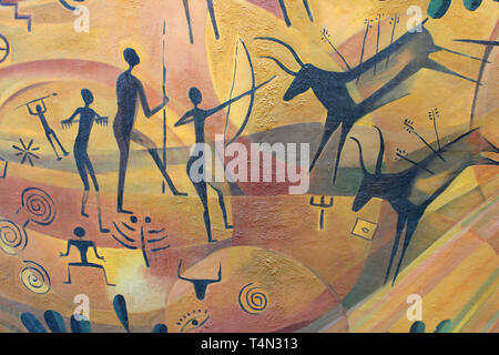 Modern Art in the style of a Cave Painting depicting Prehistoric Hunting - Stock Image