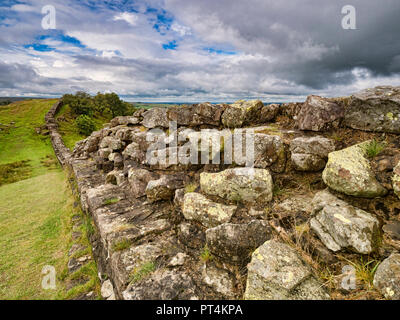 Hadrian's Wall near Walltown Crags, Northumberland, UK, on a moody summer day. - Stock Image