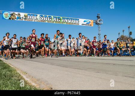 Mt. San Antonio College high school  cross country invite start line in Walnut California USA - Stock Image