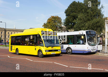 Optare Solo hybrid Eco bus on the 525 Bolton, Halliwell, Smithills, Hall i' th' Wood circular route, operated by - Stock Image