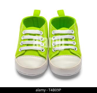 Two Green Baby Shoes Front View Isolated on White Backround. - Stock Image
