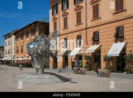 contemporary art in the main square of Pietrasanta, Tuscany, Italy - Stock Image