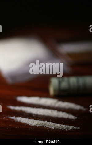 Lines of cocaine - Stock Image