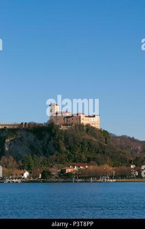Rocca di Angera castle, Lake Maggiore, Lombardy region Italy - Stock Image