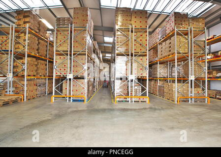 a full customs approved UK government warehouse prepares for import of goods pre brexit - Stock Image