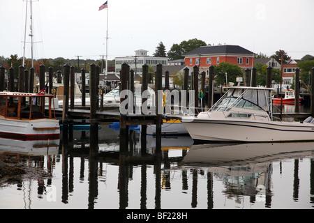 Mystic River harbor, Mystic, CT, USA - Stock Image