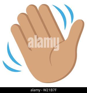 hand waving skin color human gesture illustration - Stock Image