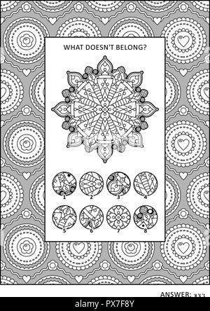 Puzzle and coloring activity page with visual logic puzzle and wide decorative frame to color. Answer included. - Stock Image
