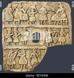 6399. Gypsum tablet depicting people bringing presents to a god or ruler. C. 2700-2600 BC. Sin Temple, Khafajah, Iraq, Mesopotamia. - Stock Image