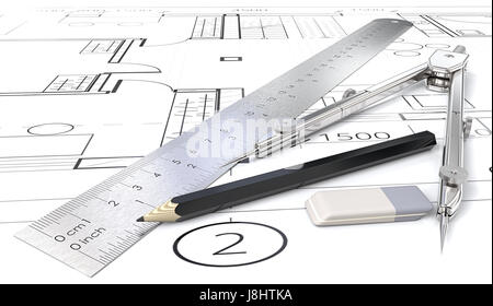 Generic blueprints , drawings and sketches. Ruler, Pencil, Eraser and Divider of metal. 3D render. - Stock Image