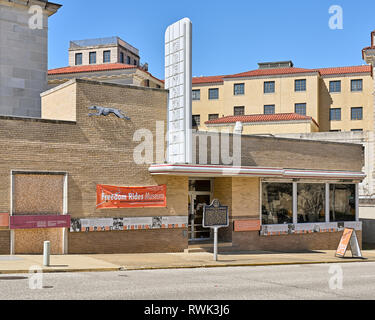 Historic Greyhound Bus Station now the Freedom Riders museum for civil rights exterior  in Montgomery, Alabama United States. - Stock Image
