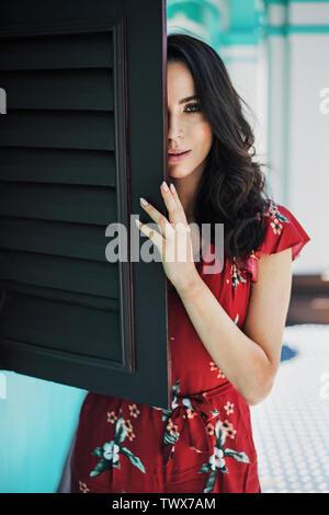 Portrait of a pretty, natural brunette woman - Stock Image