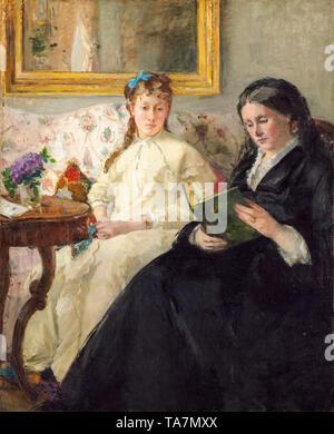 Berthe Morisot, Portrait de Mme Morisot et de sa fille Mme Pontillon ou La lecture, The Mother and Sister of the Artist, portrait painting, c. 1869 - Stock Image