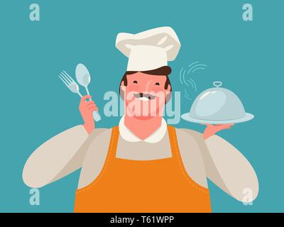 Happy chef holding a tray of food. Restaurant, cartoon vector illustration - Stock Image