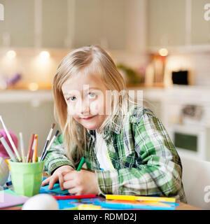 Girl drawing - Stock Image