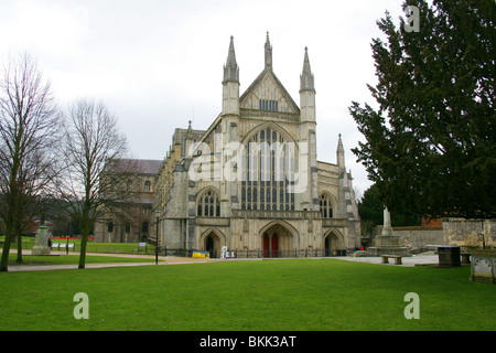Winchester Cathedral, Hampshire, UK.  The Longest Cathedral in Europe, Originally Built in 1079. - Stock Image