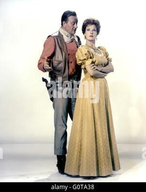 John Wayne and Maureen O'Hara / McLINTOCK ! / 1963 directed byAndrew V. McLaglen [United Artists] - Stock Image