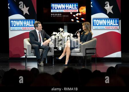 U.S First Lady Melania Trump with panel moderator Eric Bolling, during an Opioid Town Hall at the Westgate Las Vegas Resort and Casino March 5, 2019 in Las Vegas, Nevada. - Stock Image