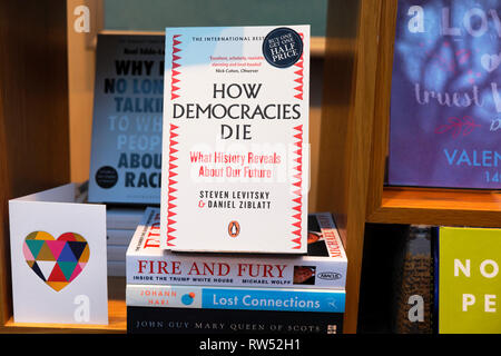 Waterstones bookstore window display with political books for sale 'How Democracies Die', 'Fire and Fury - Trump White House'  London UK KATHY DEWITT - Stock Image