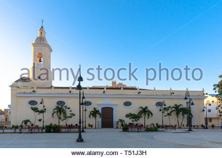 Catholic church located in the city center park. The famous colonial place is part of the National Monument and tourist attraction that is the downtow - Stock Image