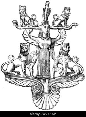 Ornament from ore, found at Gräfschwyl, ,  (anthropology book, 1874) - Stock Image