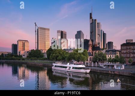 Sunrise light on the modern city architecture of Frankfurt am Main, Hesse,  Germany - Stock Image
