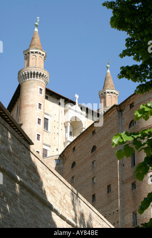 Dramatic Towers of the Ducal Palace in Urbino Le Marche ,the Marches, Italy - Stock Image
