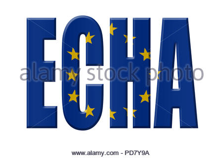 Digital Illustration - EU agency. ECHA European Chemicals Agency, Europäische Chemikalienagentur, Europees Agentschap voor chemische stoffen - Stock Image