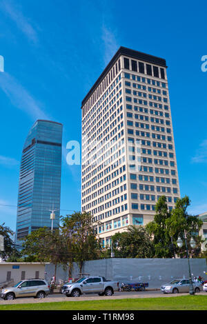 Exchange Square Mall and Vattanac Capital Tower, financial district, Phnom Penh, Cambodia, Asia - Stock Image