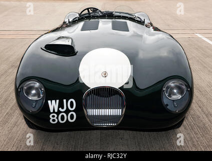 Front view of a 1955, Jaguar C-type,  at the Silverstone Classic 2017 - Stock Image