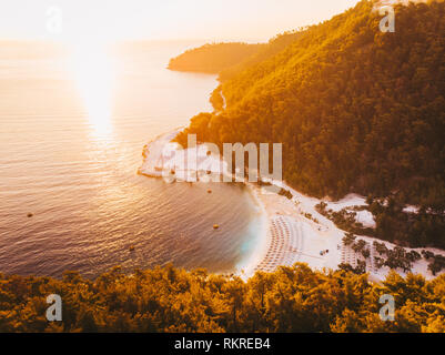 Thasos sunrise at Porto Vathy aerial view - Stock Image
